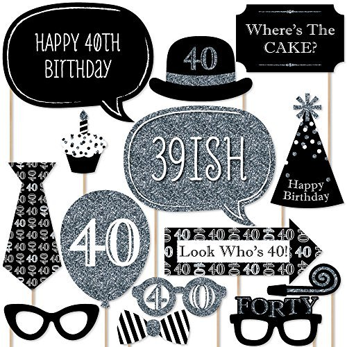 Big Dot of Happiness Adult 40th Birthday - Silver - Birthday Party Photo Booth Props Kit - 20 Count