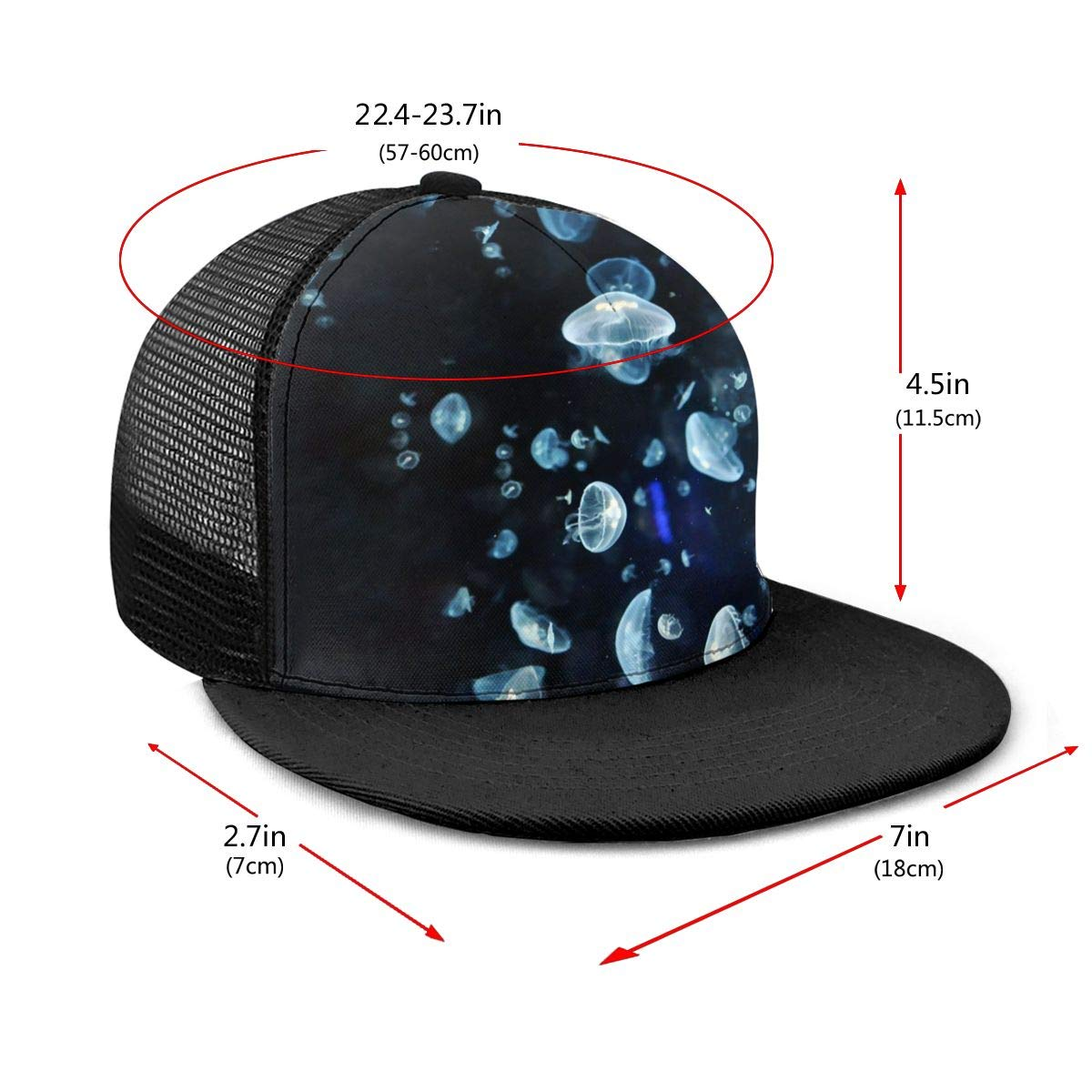 Boys and Girls 100/% Polyester Jellyfish Underwater Mesh Hat Classic Snapback Hat for Unisex