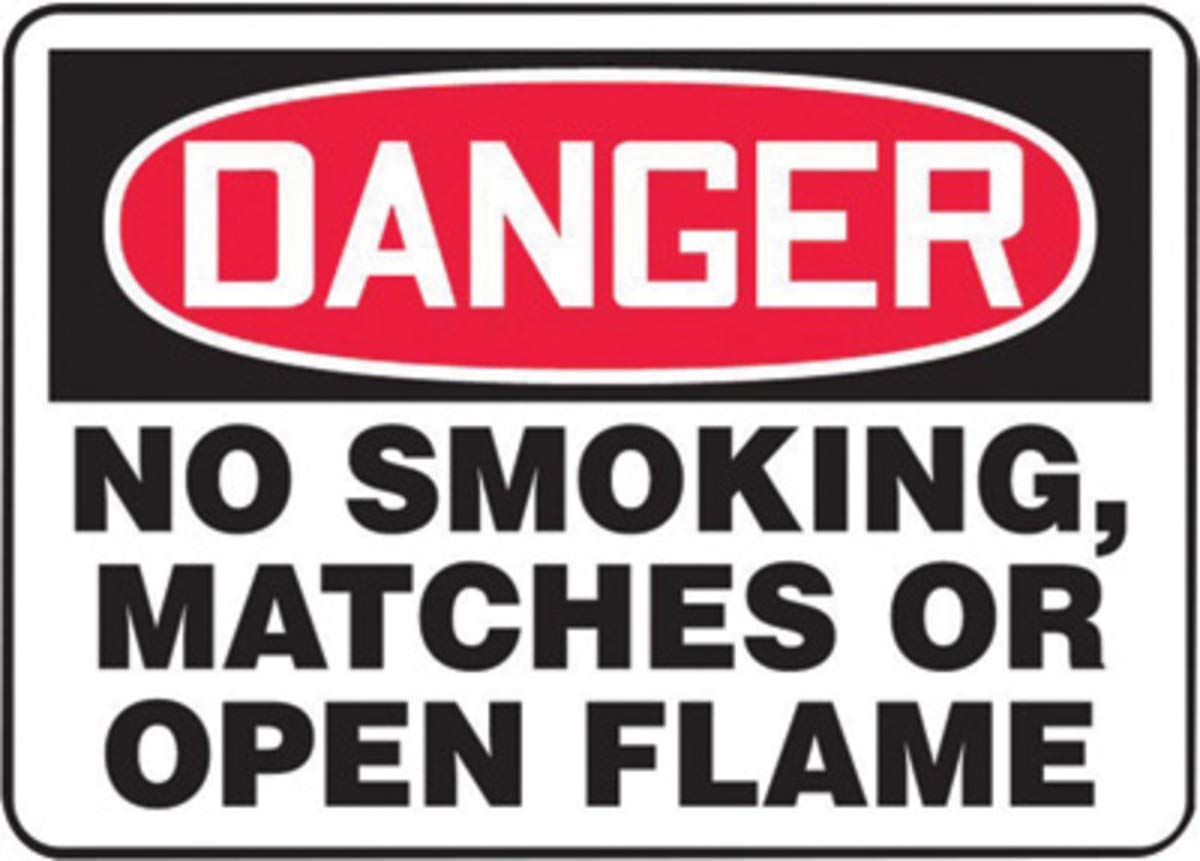 Accuform Signs 10'' X 14'' Black, Red And White 0.040'' Aluminum Smoking Control Sign''DANGER NO SMOKING, MATCHES OR OPEN FLAMES'' With Round Corner