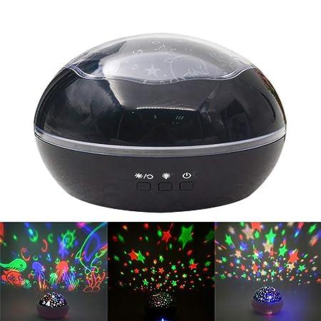 Proyector giratorio de luz nocturna, modo de 9 colores claros, 360 ...