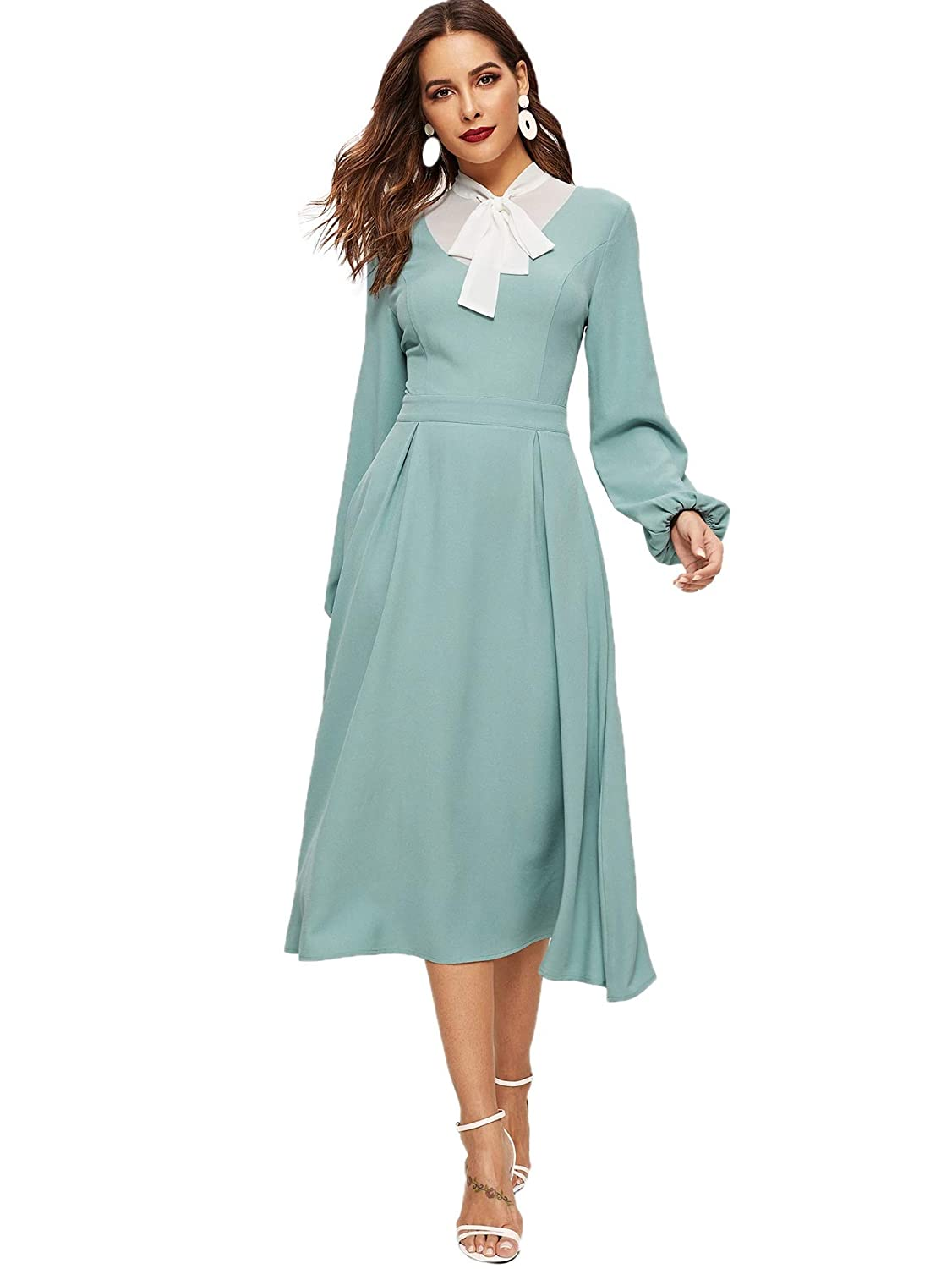 1930s Day Dresses, Afternoon Dresses History Verdusa Womens Tied Neck Contrast Yoke Long Sleeve Box Pleated Flared Dress $33.99 AT vintagedancer.com