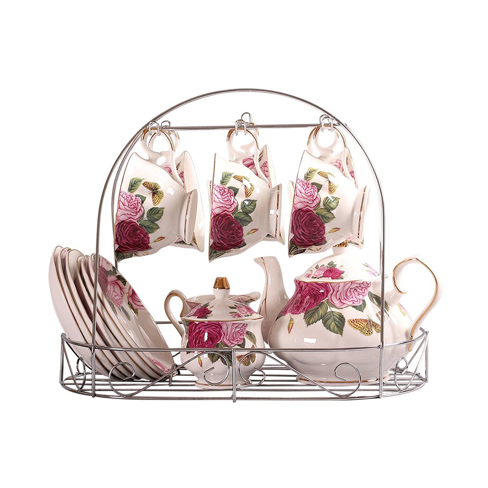 15 Piece European Bone China Service Coffee Set Wiht Metal Holder,Red Camellia Printing Vintage Floral Tea Set,For Household Ufingo