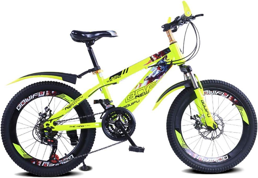 YAOXI 20 Pulgadas Bicicleta De Montaña con Suspensión Amortiguación Horquilla, Marco Hecho De Acero Al Carbono Engranaje 21 Frenos De Disco En Frente Y Detras Bicicleta para Niños,Amarillo