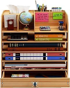 Totovy Nordic Modern Office Supplies Storage Box Horizontal Drawer Lock Shelf Desk Student Desktop Folding Supplies Layered Information Grocery Storage Cabinet Wooden (Color : Cherry)