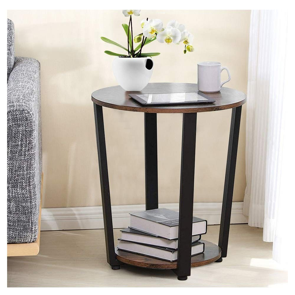 Hopeg Round Vintage End Table Metal Sofa Side Table with Storage Rack Double Layer Furniture Conference Pedestal Desk, 19.7x13.8x22.4 inches for Home Office Dinning Telephone Table by Hopeg Home
