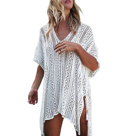6c6c2d58e4 Forthery Summer Women's Bathing Suit Cover Up Net Beach Bikini Swimsuit  Swimwear Crochet Dress (Free