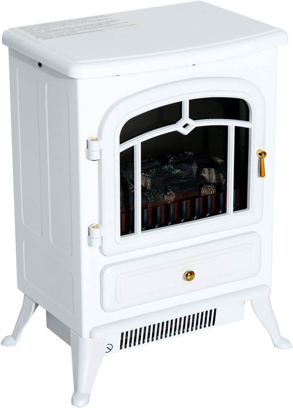 Homcom 16 Free Standing Electric Fireplace Portable Adjustable Stove With Heater Wood Burning Flame 750 1500w White Amazon Ca Home Kitchen