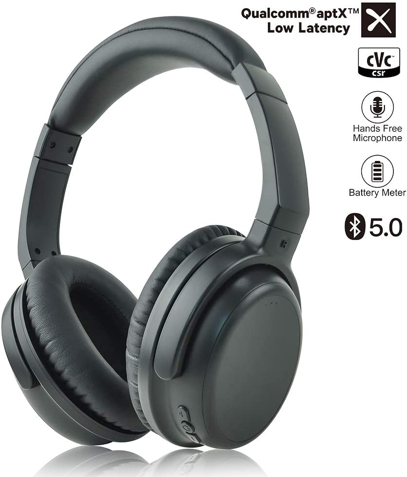 AKSONIC Athelete Bluetooth Headphones Over Ear Headset V5.0 aptX Low Latency Wireless with Mic, Dual Device Connection, Comfortable Protein Leather Earpads Works with Metal Detector