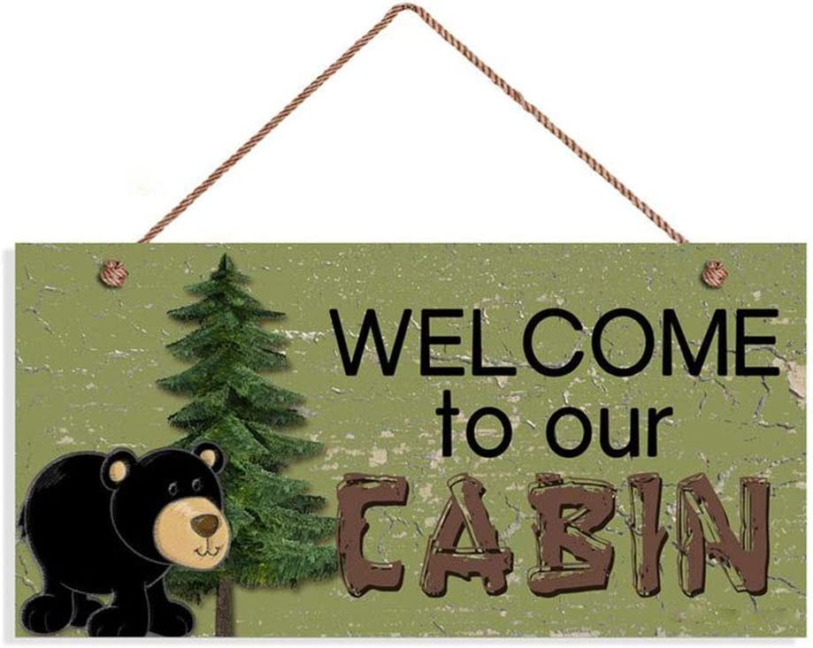 ROONASN Welcome to Our Cabin Sign, Rustic Decor, Black Bear and Pine Trees, 5