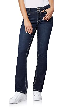 WallFlower Womens Juniors Luscious Curvy Embellished Bootcut Jeans