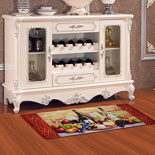 USTIDE Vintage Wine Pattern Area Rugs Waterproof Kitchen Floor Runner Non-Slip Laundry Rug by USTIDE (Image #6)