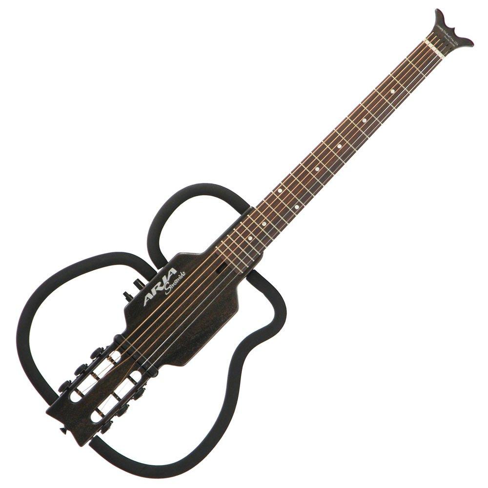 ARIA アリア アコースティックト シンソニード (サイレント) トラベルギター シースルーブラック AS-101S SBK 専用ソフトケース&ヘッドフォン付属 B003URMWTW See-through Black See-through Black