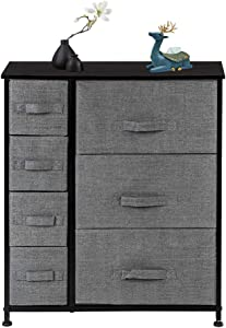 Azadx Wide Dresser Tower with Drawers, Nightstand End Table with Removable Fabric Bins, Sturdy Steel Frame and Wood Top, Dresser Organizer for Home use (4-Tier 7-Drawer, Charcoal Gray)