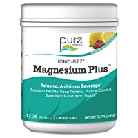 Pure Essence Labs Ionic Fizz Magnesium Plus Mineral Supplement Powder- Natural Sleep Stress and Calming Aid - Raspberry Lemonade - 12.06 oz