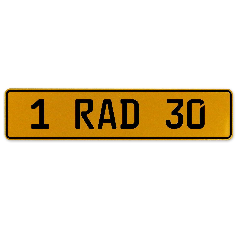 Vintage Parts 559082 Yellow Stamped Aluminum European Plate 1 RAD 30