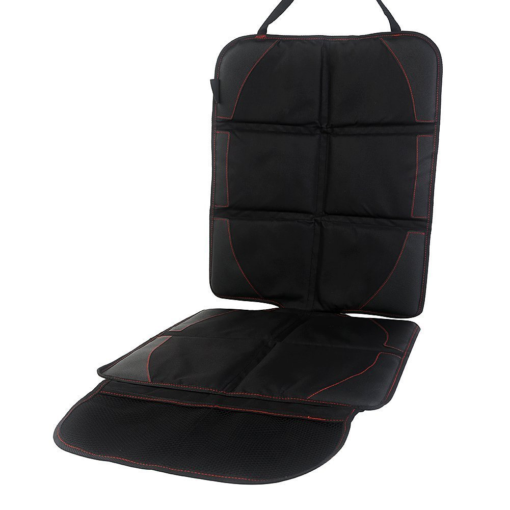 CAR SEAT PROTECTOR with Storage Pockets - Best Nonslip Baby Car Seat Cover - Leather Saver for ISOFIX/LATCH Baby Carseat and Booster Seat Foxybox
