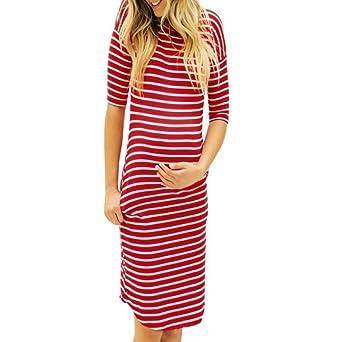 K-youth Vestido para Mujeres Embarazadas Casual Vestidos de Maternidad Vestido Premama Manga Corta Rayas Vestidos de Fiesta Mujer Vestidos Embarazada ...