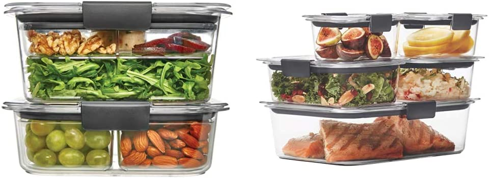 Rubbermaid Brilliance Food Storage Container, Combo Kit, Clear, 9 Piece Set & Brilliance Leak-Proof Food Storage Containers with Airtight Lids, Set of 5 (10 Pieces Total) |BPA-Free & Stain Resistant