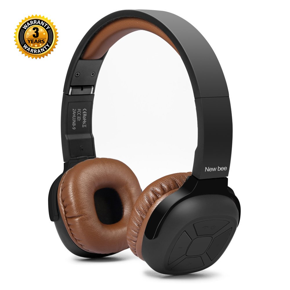 Active Noise Cancelling Headphone Bluetooth Headphones New Bee 70H Playtime Wireless Headphones with Microphone Siri Voice Control Hi-Fi Stero Deep Bass for Travel Work TV (Black-Luxury)