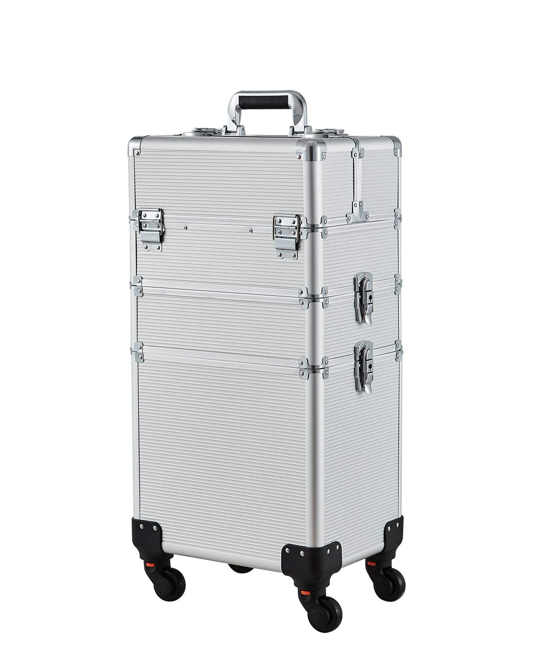 Makeup Case - 3 In 1 Aluminum Professional Rolling Cosmetic Beauty Storage With Folding Trays and Large Compartments Silver
