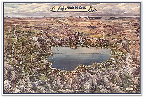 Carson City Nevada Map (Pictoral MAP of Lake Tahoe California & Nevada - The All Year Playground - circa 1965 - measures 24