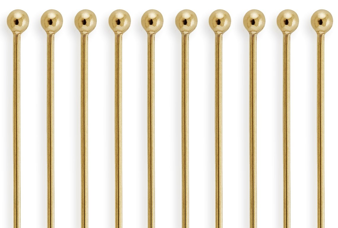 50 Pieces 14Kt Gold Filled Ball End Head Pins 26 Gauge 2 inch by houseofgems (Image #1)