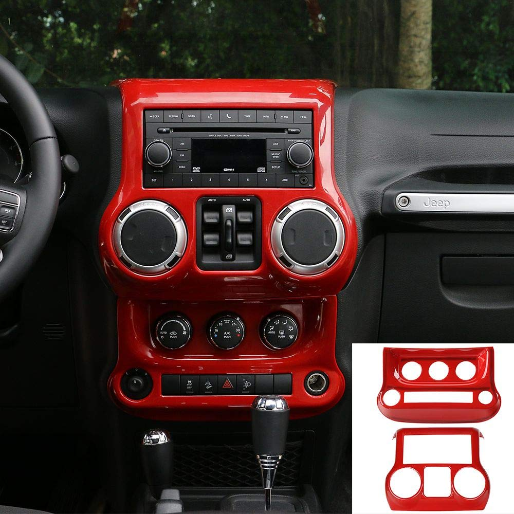Red JeCar Center Console Panel /& Air Conditioning Switch Panel Trim Cover ABS Interior Trim Kit for 2011-2018 Jeep Wrangler JK JKU