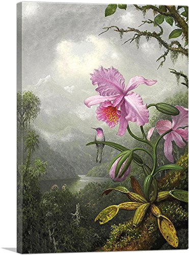 ARTCANVAS Hummingbird Perched on The Orchid Plant 1901 Canvas Art Print by Martin Johnson Heade- 40