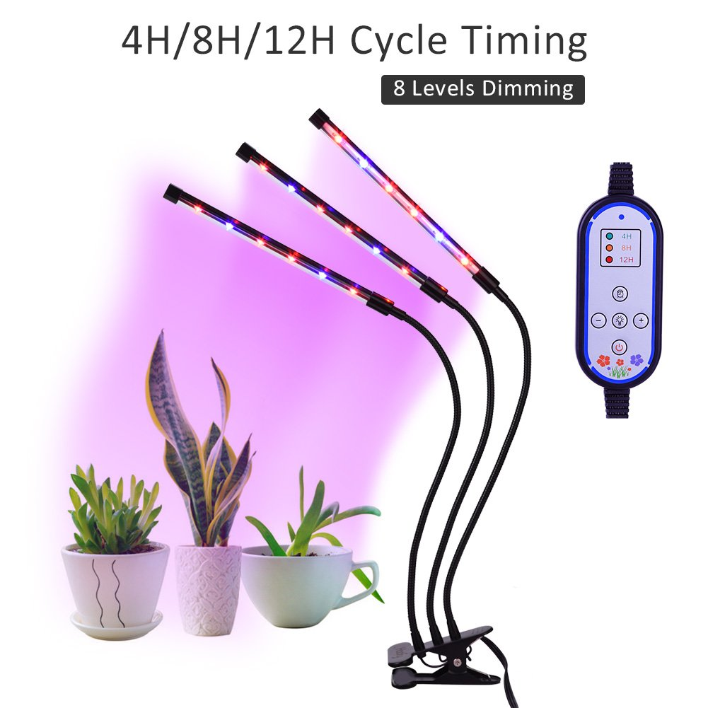 36W LED Grow Plant Lights for Indoor Plants, Grow Plant Lamp Auto On/Off with 4/8/12H Timer, 8 Dimming Levels and 3-Head 360 Degree Adjustable Gooseneck for House Garden Hydroponics Succulent Growing by Haofy