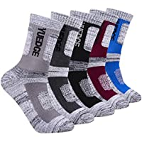 YUEDGE Men's 5 Pairs Cushion Crew Athletic Socks Multi Performance Outdoor Sports Hiking Trekking Socks