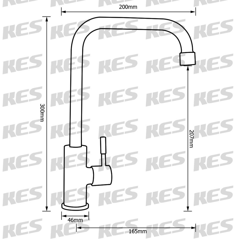 KES K8050B SUS304 Stainless Steel Cold Tap Single Lever Kitchen Pantry Bar Faucet Lead-Free with 24-Inch Supply Hose Brushed KES Sanitary Ware