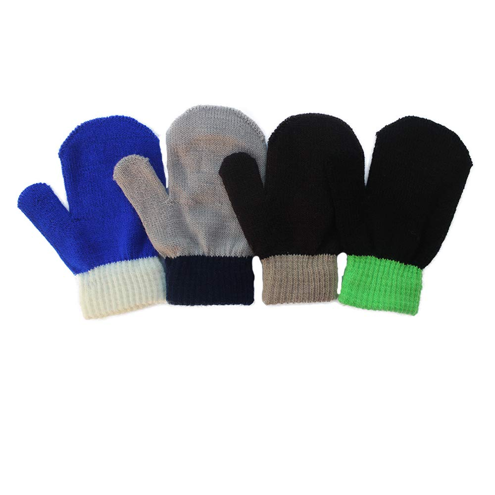 3 Pairs A Colorful Stretchy Knit Glovers Kids Boys Girls Winter Warm Magic Gloves