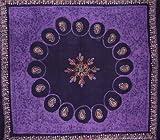 Batik Tapestry Cotton Bedspread 108'' x 108'' Queen-King Purple