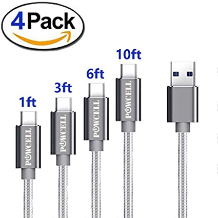 4 Pack USB C Charger Cord for Google Pixel 3 XL Pixel 2 XL Samsung Galaxy S10 S10+ S10e S9 S9+ S8 Note 9 Plus OnePlus 6 6T LG G7 G7+ ThinQ V20 V30 USB ...