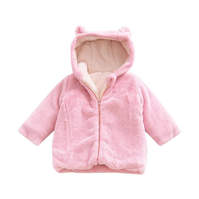 6d50fc9ad Gallity Infant Baby Kids Girls Solid Flock Warm Cartoon Coat Cold Weather  Outfits Clothes (12M