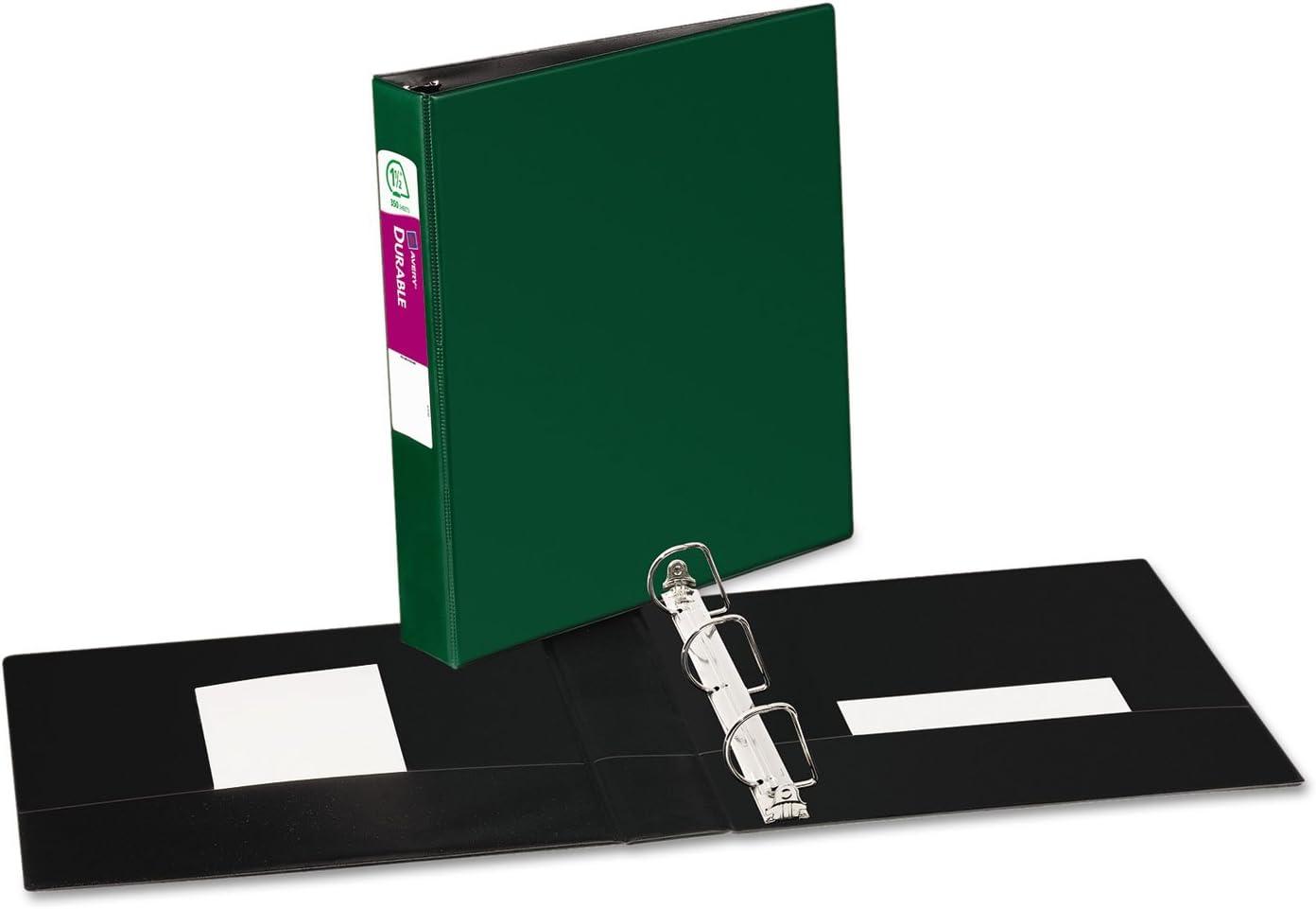 Green Avery 27353 Durable Binder 8-1//2 x 11 1.5-Inch Capacity Slant Rings 1//EA