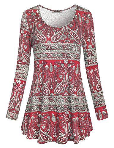 Floral Print Trapeze - Hibelle Loose Tunic Tops, Womens Round Neck Long Sleeve Paisley Shirt Flattering Stretchy Soft Floral Print Pattern Trapeze Blouses Red L