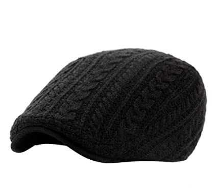 8cb4abd966c ... authentic acvip irish knitted wool duckbill flat cap for men newsboy  gatsby driver caps hat black