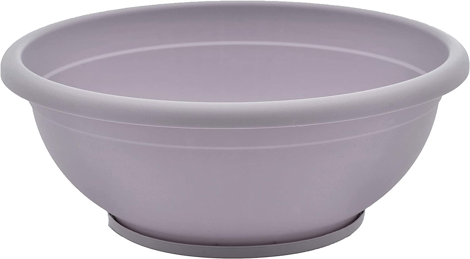 TABOR TOOLS VEN306 Plastic Planter Bowl, Garden Bowl with Attached Drainage Tray, for Indoor and Outdoor Use, Round Ø 12 Inch (Color:Mauve)