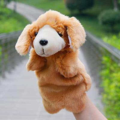 Cuiedailqhb Cute Dog Puppy Animal Plush Hand Puppet Doll Pretend Play Parent Child Toy Gift - Yellow: Toys & Games
