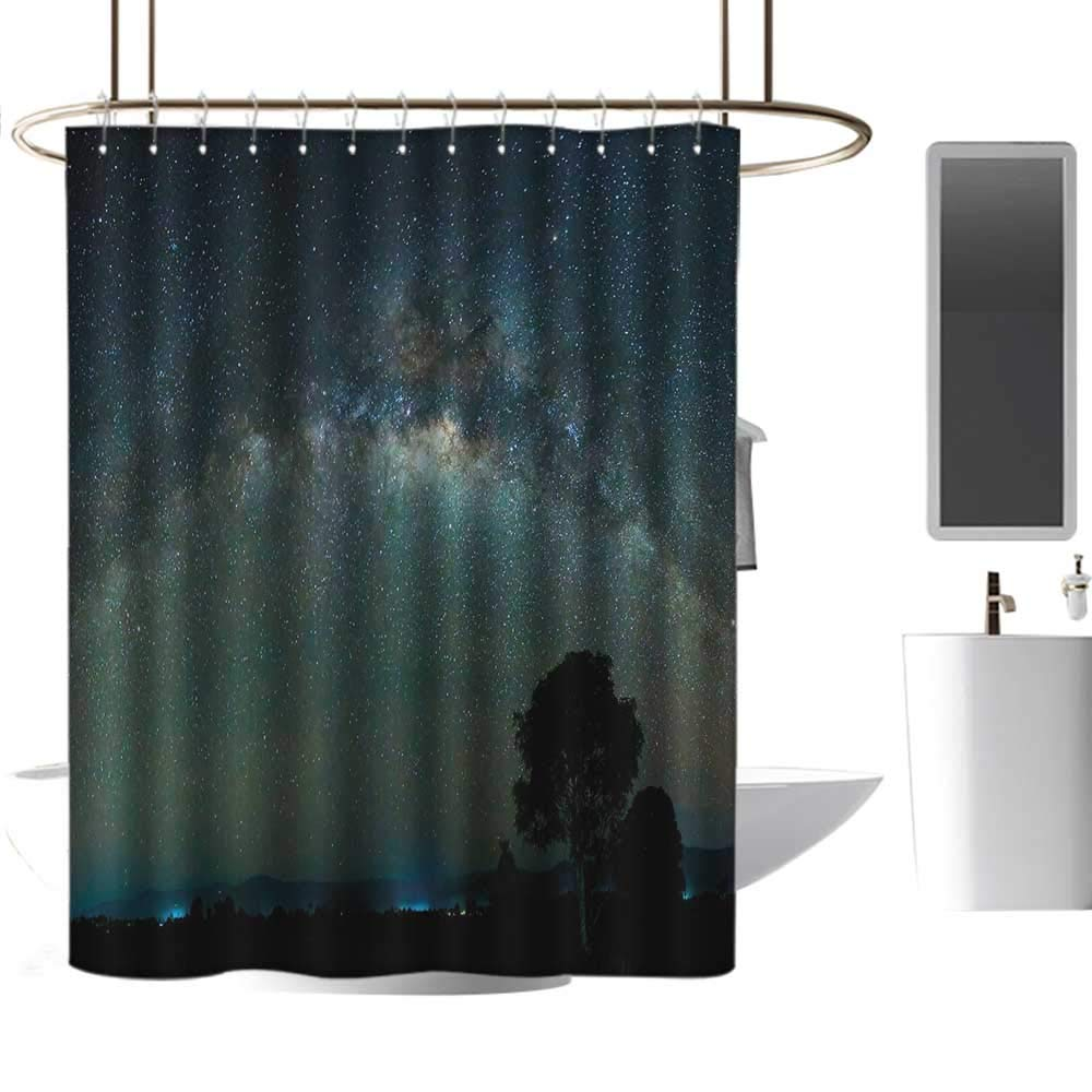 """TimBeve Waterproof Shower Curtain Sky,Milky Way Photography Universe from Sabah Borneo East Malaysia South Eastern Asia,Pale Green Black,Polyester Bathroom Shower Curtain Set with Hooks 54""""x72"""""""
