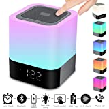 Portable Wireless Bluetooth 4.0 Speaker (Newest version) -Big Sound Heavy Base-RBG Changing Color-Dimmable Warm Light Lamp Alarm Clock-Hand Free-48Led Light Cycle-MP3