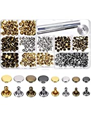 240 Sets Leather Rivets Double Cap Rivet Tubular Metal Studs with Fixing Tools for DIY Leather Craft,Clothes, Shoes,Bags, Belts Repair Decoration,4 Colors 2 Sizes