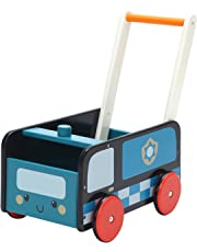 Labebe Baby Walker with Wheel, Blue Police Walker, 2-in-1 Wooden Activity Walker for Baby 1-3 Years, Push Toy/Baby Wagon/Infant Walker Baby/Activity Walker/Learning Walker/Toddler Walker Activity