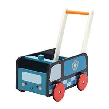 Labebe Baby Walker With Wheel Blue Police Walker 2 In 1 Wooden Activity Walker For Baby 1 3 Years
