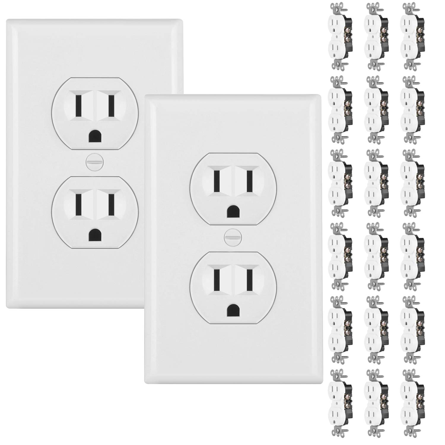 Bestten Multi-Functional Wall Mount Surge Protector, 6 Electrical Outlet and 2 USB Charging Ports (2.4A/Port, 3.1A Total), Safety Cover, ETL Certified FBA_USW-2U6A-0BS