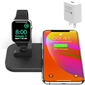 2 in 1 Metal iPhone iwatch Charging Station,Wireless Charger for iPhone12/12 Mini/12 Pro Max/11/11pro/X/Xs/Xs MAX/8 Plus/8,Charging Stand for iWatch6/5/4/3/2(with 2A Adapter,NO iWatch Cable)(Black)