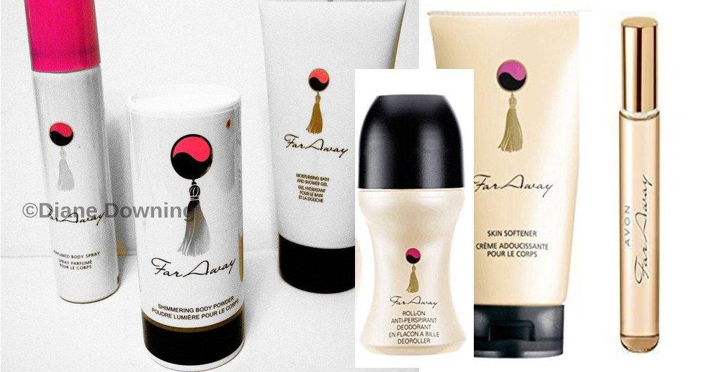 Avon far away 6 items - purse spray perfume, body spray, talc, shower gel, skin softener, roll on