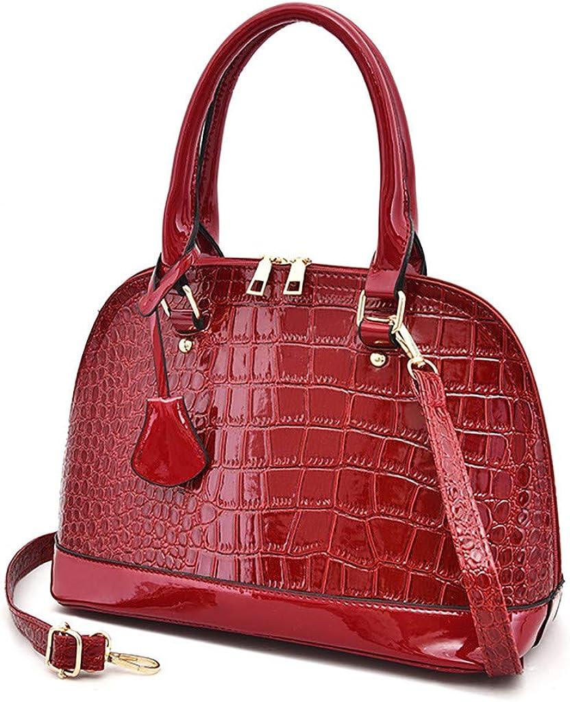 HYSGM Fashion Women Totes PU Leather Crocodile Pattern Print Zipper Handbag Messenger