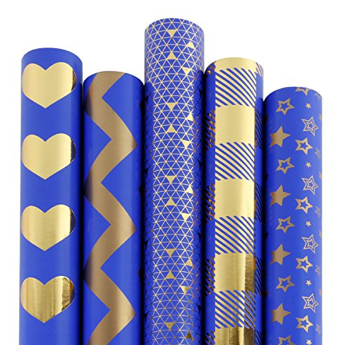 Navy Blue and Gold Foil Pattern - 5 Rolls